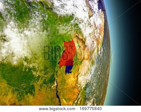 Uganda In Red From Space