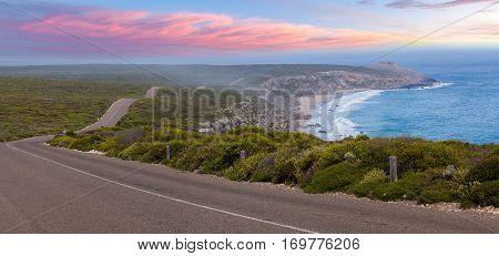 Road Leading To Remarkable Rocks Among Native Coastal Vegetation At Sunset. Flinders Chase National