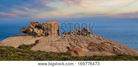 Famous Remarkable Rocks At Sunset. Flinders Chase National Park, Kangaroo Island, South Australia.