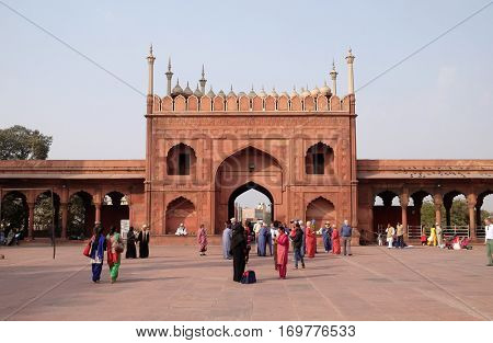DELHI, INDIA - FEBRUARY 13: The spectacular architecture of the Great Friday Mosque (Jama Masjid) on February 13, 2016, Delhi, India.