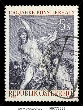 ZAGREB, CROATIA - SEPTEMBER 09: A stamp printed by AUSTRIA shows engraving after painting Triumph of Ariadne by Austrian academic painter and designer Hans Makart, circa 1961, on September 09, 2014