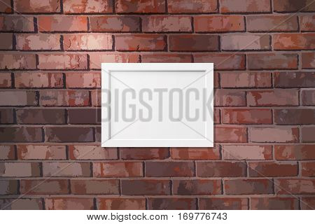 Picture frame on a brick wall texture background