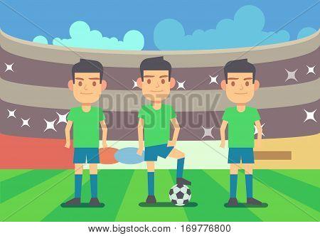 Football, soccer players vector illustration. Football team on championship arena