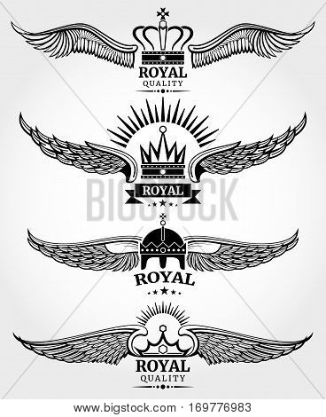 Vector winged crowns royal logo templates set in black and white. Emblem with wing, and crowns illustration