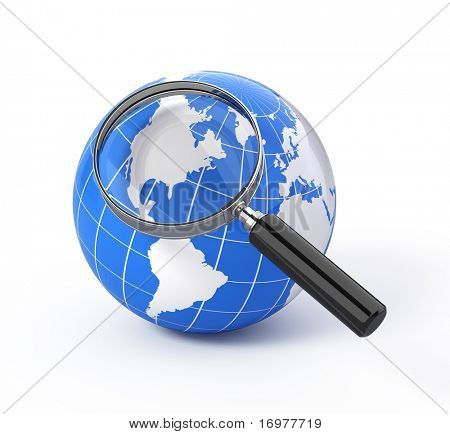 3d icon search - earth globe with magnify glass