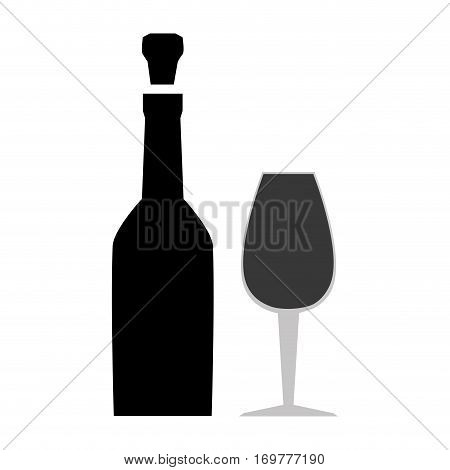 silhouette spherical beverage bottle with glass cup vector illustration