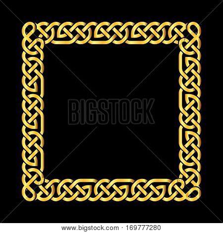 Square golden celtic knots vector frame. Decoration element frame illustration