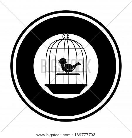 black silohuette circular border with cage with bird in swing vector illustration