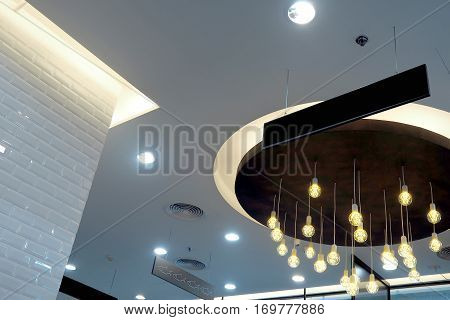 The roof structure in big shopping mall