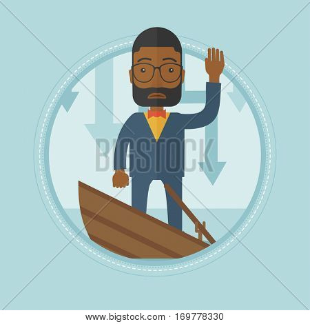 An african-american businessman standing in a sinking boat. Businessman sinking and asking for help. Business bankruptcy concept. Vector flat design illustration in the circle isolated on background.