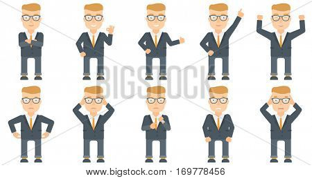 Successful caucasian businessman standing with raised arms up. Businessman celebrating business success. Business success concept. Set of vector flat design illustrations isolated on white background.