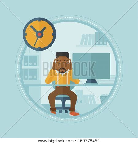 An african-american worried employee sitting at workplace and clutching his head because of missed deadline. Concept of deadline. Vector flat design illustration in the circle isolated on background.