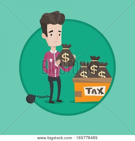 Chained to a ball taxpayer standing near bags with taxes. Businessman holding bag with taxes. Concept of tax time and taxpayer. Vector flat design illustration in the circle isolated on background.