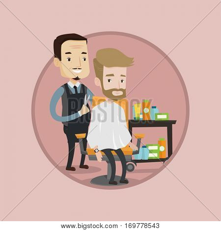 Barber cutting hair of young hipster man with beard in barbershop. Professional barber making haircut to a client in barbershop. Vector flat design illustration in the circle isolated on background.