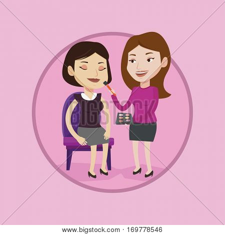 Visagiste applying makeup on woman face. Visagiste doing makeup to young girl. Visagiste doing makeup to a model using a brush. Vector flat design illustration in the circle isolated on background.