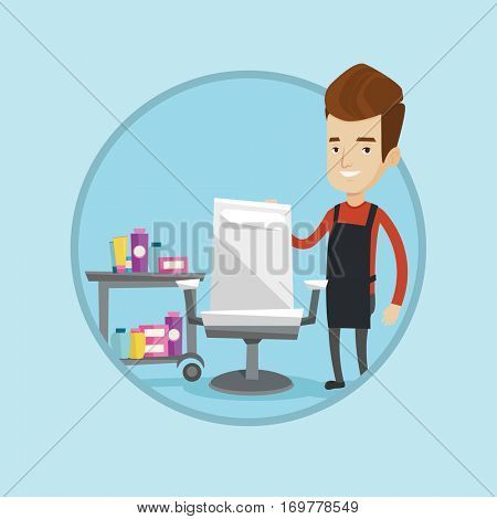 Young caucasian barber standing near armchair and table with cosmetics in barbershop. Barber standing at workplace in barbershop. Vector flat design illustration in the circle isolated on background.