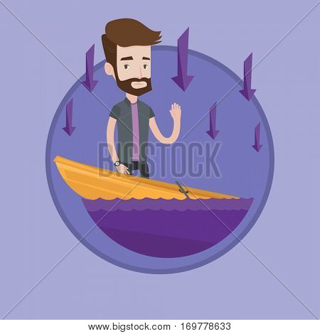 Businessman bankrupt standing in a sinking boat. Hipster businessman sinking and arrows going down symbolizing business bankruptcy. Vector flat design illustration in the circle isolated on background