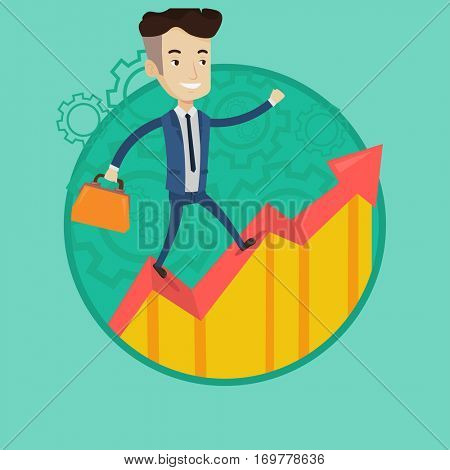 Caucasian businessman running along the growth graph. Businessman moving to success and business growth. Business growth concept. Vector flat design illustration in the circle isolated on background.