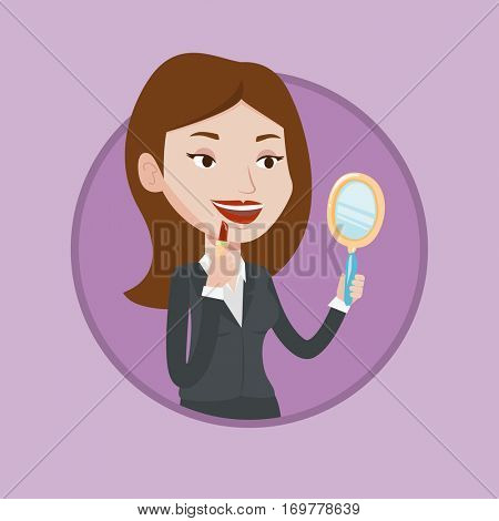 Smiling woman doing makeup. Woman rouge lips with red color lipstick. Young woman paints her lips. Girl applying lips makeup. Vector flat design illustration in the circle isolated on background.