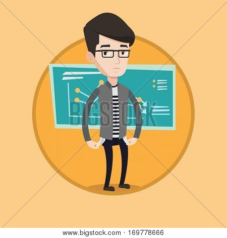 Caucasian businessman bankrupt showing his empty pockets. Young bankrupt turning his empty pockets inside out. Bankruptcy concept. Vector flat design illustration in the circle isolated on background.