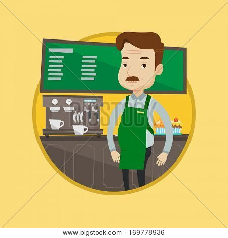 An adult barista sanding in front of coffee machine. Caucasian barista working at coffee shop. Barista making a cup of coffee. Vector flat design illustration in the circle isolated on background.