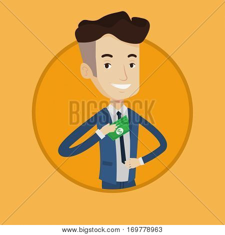Young businessman putting bribe in his pocket. Businessman hiding bribe in jacket pocket. Bribing, corruption and fraud concept. Vector flat design illustration in the circle isolated on background.