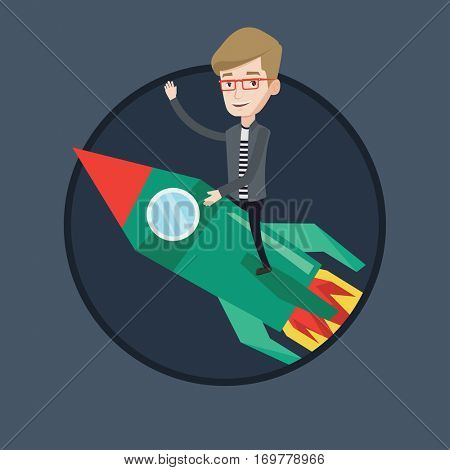 Businessman flying on business start up rocket and waving his hand. Concept of business start up and moving to business success. Vector flat design illustration in the circle isolated on background.