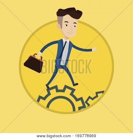 Businessman running on cogwheels. Businessman running to success. Businessman running in a hurry. Concept of moving to success. Vector flat design illustration in the circle isolated on background.