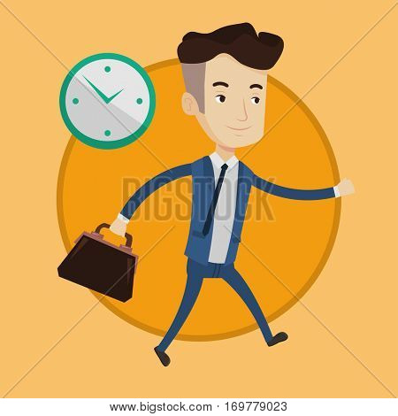 Busy caucasian businessman running on the background with clock. Busy businessman in a hurry. Concept of deadline and busy time. Vector flat design illustration in the circle isolated on background.