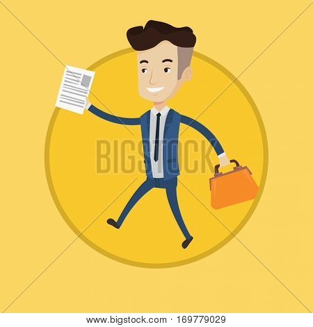 Successful businessman running with briefcase and document in hands. Businessman walking to success. Business success concept. Vector flat design illustration in the circle isolated on background.