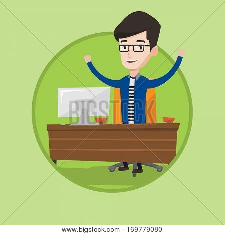 Successful businessman celebrating at workplace. Successful businessman celebrating business success. Successful business concept. Vector flat design illustration in the circle isolated on background.