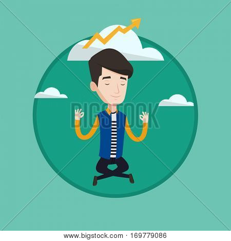 Caucasian businessman doing yoga in lotus pose and thinking about the growth graph. Businessman meditating in yoga lotus pose. Vector flat design illustration in the circle isolated on background.