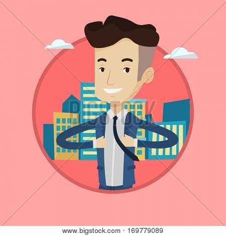 Businessman opening his jacket like superhero on the background of city. Businessman superhero. Concept of power of a businessman. Vector flat design illustration in the circle isolated on background.
