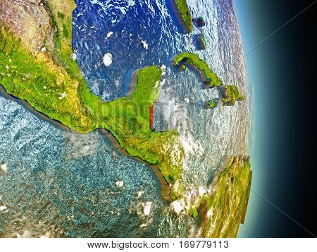 Belize In Red From Space