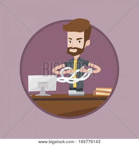 Caucasian hipster businessman with beard sitting in office and tearing furiously bills. Young angry businessman calculating bills. Vector flat design illustration in the circle isolated on background.