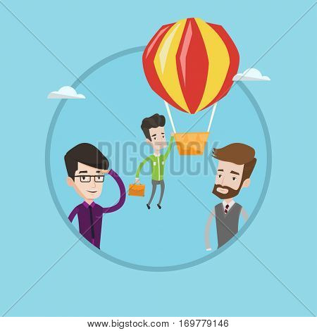 Two employees looking at their successful colleague. Hardworking employee flying away in balloon from less successful colleagues. Vector flat design illustration in the circle isolated on background.