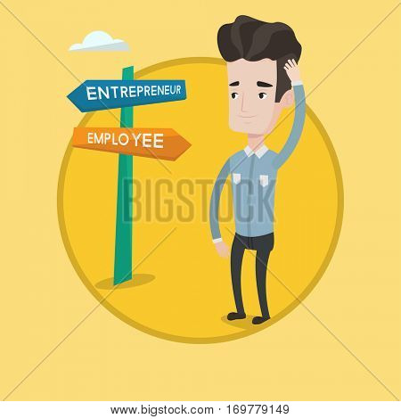 Man standing at road sign with two career pathways - entrepreneur and employee. Man choosing career pathway. Career choice concept. Vector flat design illustration in the circle isolated on background