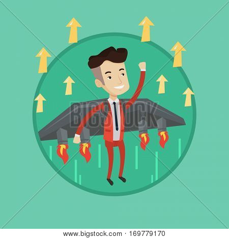 Businessman flying on the business start up rocket. Caucasian businessman flying with a jet backpack. Business start up concept. Vector flat design illustration in the circle isolated on background.