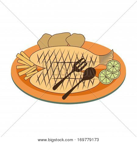 color dish with fry fish with lemon and potatos vector illustration