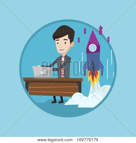 Caucasian businessman working on business start up and business start up rocket taking off behind him. Business start up concept. Vector flat design illustration in the circle isolated on background.