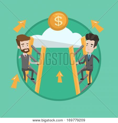 Businessman competing for the money. Competitive businessmen climbing the ladder on a cloud. Concept of competition in business. Vector flat design illustration in the circle isolated on background.