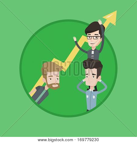 Caucasian businessmen holding zigzag growth graph. Business people with growth graph. Concept of partnership and growth graph. Vector flat design illustration in the circle isolated on background.