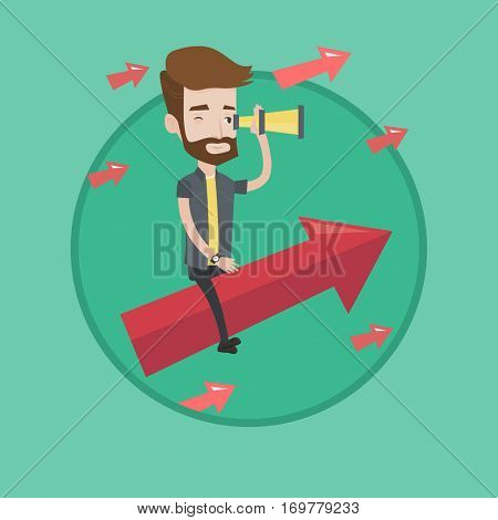 Businessman searching for opportunities. Businessman using spyglass for searching of opportunities. Business opportunities concept. Vector flat design illustration in the circle isolated on background