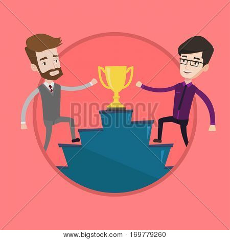 Businessmen competing for trophy. Two competitive businessmen running up for the winner cup. Business competition, award concept. Vector flat design illustration in the circle isolated on background.