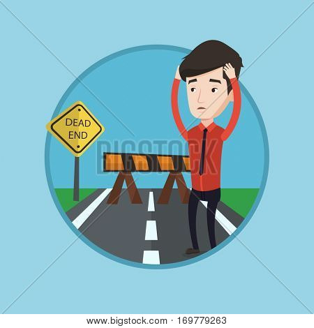 Man looking at road sign dead end symbolizing business obstacle. Man facing with business obstacle. Business obstacle concept. Vector flat design illustration in the circle isolated on background.