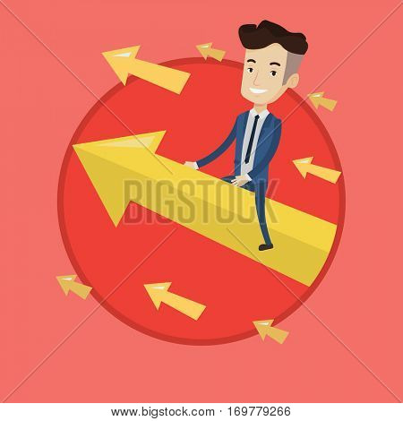 Happy businessman flying on the arrow going up. Successful businessman flying up on arrow. Concept of moving to business success. Vector flat design illustration in the circle isolated on background.