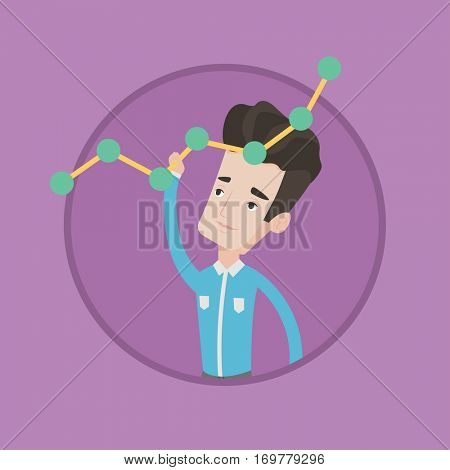 Businessman looking at chart going up. Businessman lifting a chart. Businessman pulling up a chart. Concept of business growth. Vector flat design illustration in the circle isolated on background.