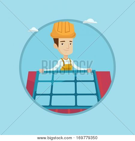 Eengineer installing solar panels on roof. Technician in hard hat checking solar panels on roof. Eengineer adjusting solar panels. Vector flat design illustration in the circle isolated on background.