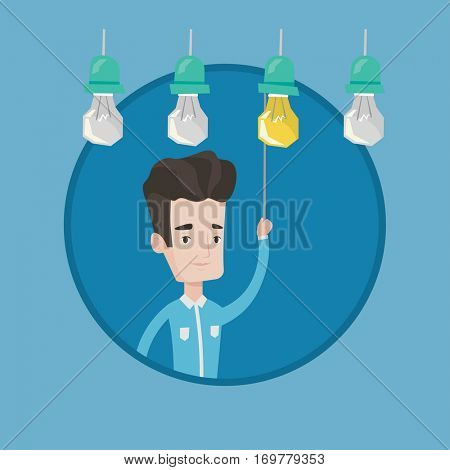Young caucasian businessman switching on hanging Idea bulb. Cheerful businessman pulling a light switch. Business idea concept. Vector flat design illustration in the circle isolated on background.