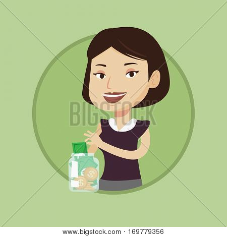 Caucasian business woman holding money box with coins and banknotes. Young business woman putting dollar money into money box. Vector flat design illustration in the circle isolated on background.